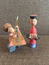 VINTAGE Russian Folk Art Hand Painted Wooden musician. Made in USSR