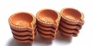 12 Set with Cotton Wicks Diya Clay Pot,Diwali Dipak Puja,lamp,Wick Burner Diya