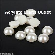 2000x 3mm Beige Ivory Flat Back Half Round Resin Pearls Nail Art Craft DIY Gems