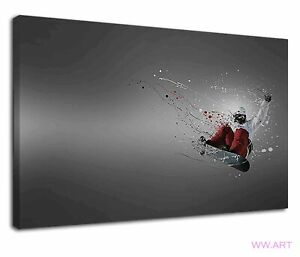 Extreme Snowboarding Digital Illustration On Grey Canvas Wall Art Picture Print