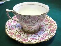 Lot 6 Vintage ROSINA Bone China Pink Rose Chintz Tea Cup & Saucer. No. 4965