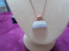 ROSE GOLD OVER SS PRETY HAND BAG WITH DIAMOND ACCENT VERY WITH CHAIN UNUSED TAG