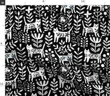 New listing Cat Black and White Floral Kitties Scandinavian Spoonflower Fabric by the Yard