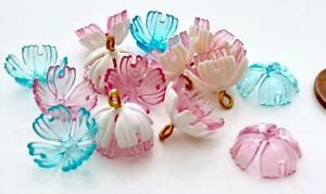 Vintage 5 x 12mm Dainty Blue Pink White Plastic Flower Beads Mix 14