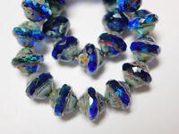 6 Czech Glass Cobalt Blue Travertine Faceted Teardrop Beads 19x8mm