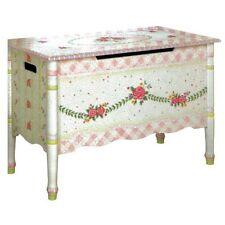Girls Pink & White Cracked Rose Princess Toy Box  Chest Storage Baby Nursery