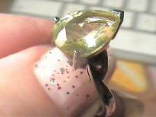 STERLING SILVER 925 Ring 7 lemon Citrine Natural pear cut solitaire sapphire WOW