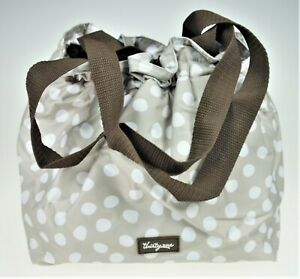 Thirty-One 31 Cinch It Up Thermal Tote Bag Insulated Beige White Polka Dots 