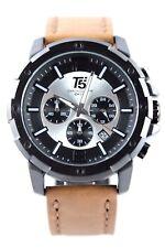 Orologio Uomo Cronografo t5 46mm Data Argento-Nero Bracciale in Pelle con Custodia per orologi
