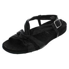 Mujer Rockport Negro Leather Sandalias Número RU 4.5 (US 7) STELLA