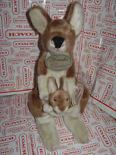 YOMIKO CLASSICS MOMMY & BABY KANGAROO STUFFED PLUSH ANIMAL BROWN IVORY TOY 18""