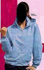 Blouson mit Kapuze hellblau Gr. 140 Retro für Mädchen oder Jungen - Neu & OVP