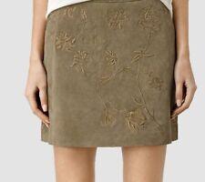 AllSaints Nathalia Embroidered Suede Skirt Khaki Green Uk12 Us8 Eu40 MRRP