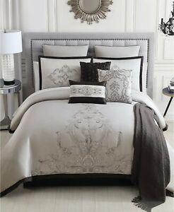 Hallmart Collectibles 14 Piece QUEEN Comforter Set Eminence GREY J0Y094