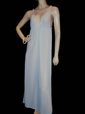 S NOS Vintage 60s BLUE NYLON MAXI DEEP V-LACE EMPIRE LONG GOWN HIPPIE NIGHTGOWN