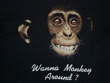 Vintage Wanna Monkey Around? 80's Sexy Pickup Pick-Up Line Funny Thin T Shirt L