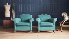 Pair of Vintage Coil Sprung Moustache Back Armchairs