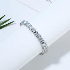 925 Sterling Silver Platinum Plated Natural Multi White Topaz Charming Bracelet