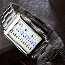 DETOMASO Spacy Timeline Herrenuhr Edelstahl Silber LED Digital Binär Zahlen Neu