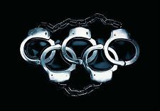 Framed Print - Interlocking Handcuffs (Picture Poster Art Police Prison Jail)