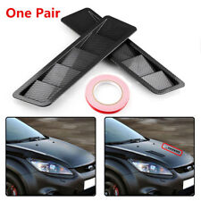 "One Pair Carbon Fiber Style Car ABS Hood Vent Louver Cooling Panel 16.7"" x 4.5"""