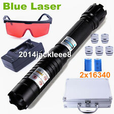 Most Powerful Focusable Blue Burning Laser Pointer Pen Laser Torch Lamp 4x16340