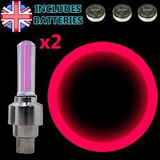 2x Pink Flash LED Neon Light Lamp Car Bike Bicycle Wheel Tire Valve Dust Cap