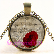 Vintage Red Rose Music Notes Cabochon Glass Bronze Chain Pendant Necklace#CD22