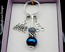 Beautiful I LOVE MUSIC Note Treble Clef Blue Bead Rhinestone Keyring Key Ring