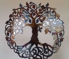 "Tree of Life, Heat Colored, Metal Art, 36"", Wall Decor"
