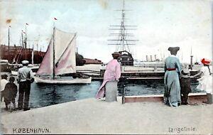 1907 Copenhagen Langelinie Pier Sailboats Steamers Nautical Tinted Postcard