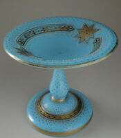 Baccarat Small Celestial Blue Gilded Opaline Glass Compote
