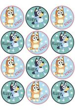12 x Edible Cupcake Toppers - Bluey - Cake Decor Party Birthday Cookie