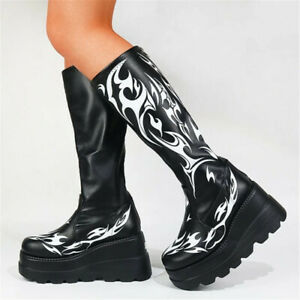 Womens Shoes Heels Slip On Printed Knee High Boots Black Punk Nightclub Shoes
