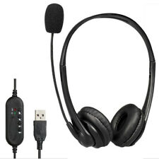 USB Headset Customer Service Earphones Mic For Computer Laptop Online Learning