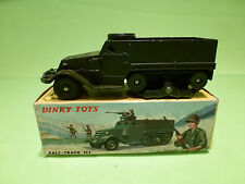 DINKY TOYS 822 HALF TRACK M3 - ARMY GREEN 1:43? - GOOD IN BOX - MILITARY FRANCE
