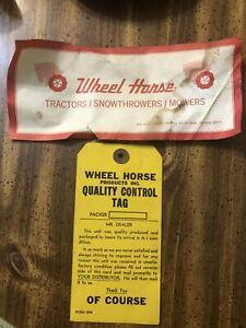 Original 1950's Wheel Horse QUALITY control tag & Warranty VGUC