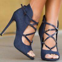 Women's High Stilettos Shoes Ankle Strap Sandals Pumps Peep Toe Nightclub Pumps