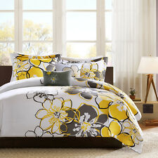 BOLD YELLOW Full / Queen COMFORTER SET : FLOWER BLACK GRAY FLORAL MODERN BEDDING