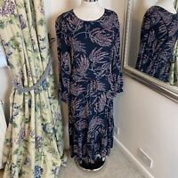 M&S Size 14 navy spotted patterned boho mini belted dress long sleeve smock NEW