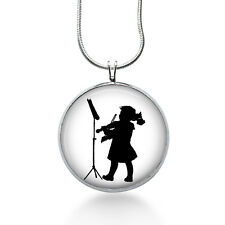 Silhouette necklace - Girl with Violin,  Silhouette jewelry, Music Pendant