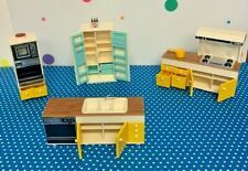 Vintage Tomy Dollhouse Kitchen Furniture 4 Pieces with Accessories