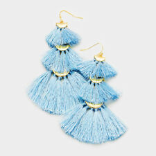 NEW BABY BLUE TRIPLE FAN TASSEL GOLD ACCENTED DROP EARRINGS