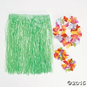 Green Hawaiian CHILD Hula Skirt w/Flower Lei & 2 matching bracelets FREE U.S. SP