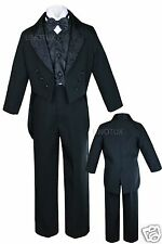 New Toddler & Boy Wedding Formal Paisley Tail Tuxedo Suit Black new born to 20