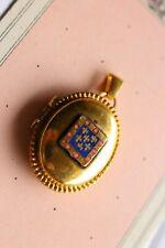 Pendentif porte  photos ancien doré  Blason émaillé  fleur de lys  03