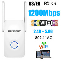 1200Mbps WiFi Range Extender Repeater Wireless Signal Booster Router 2.4+5Ghz