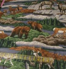 Cranston wildlife animal scene Bear Wolf Deer cotton fabric Hunting BTHY river