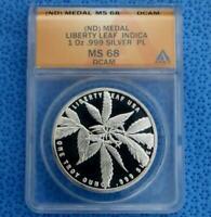 ND ANACS MS 68 Deep Cameo Proof Like Indica Marijuana 1 Ounce .999 Silver Round