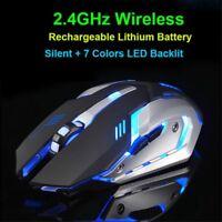 Souris jeu ergonomique optique rechargeable sans fil rétroéclairé par USB X7 LED